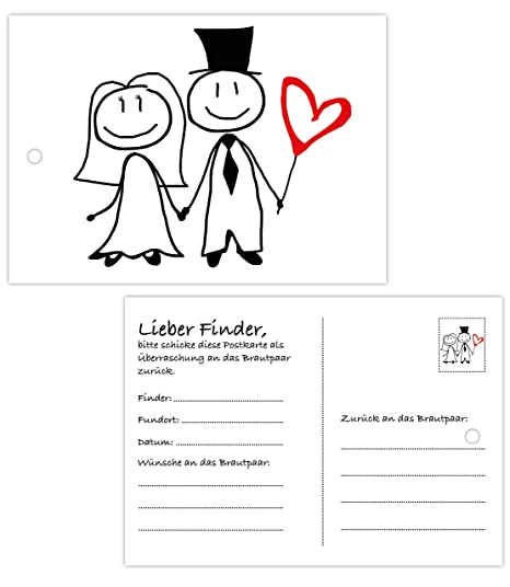 50 Ballonflugkarten zur Hochzeit | gelocht, wetterfest, extra leicht | Din A6 Ballonkarten für weiten Flug | beidseitiger Dru