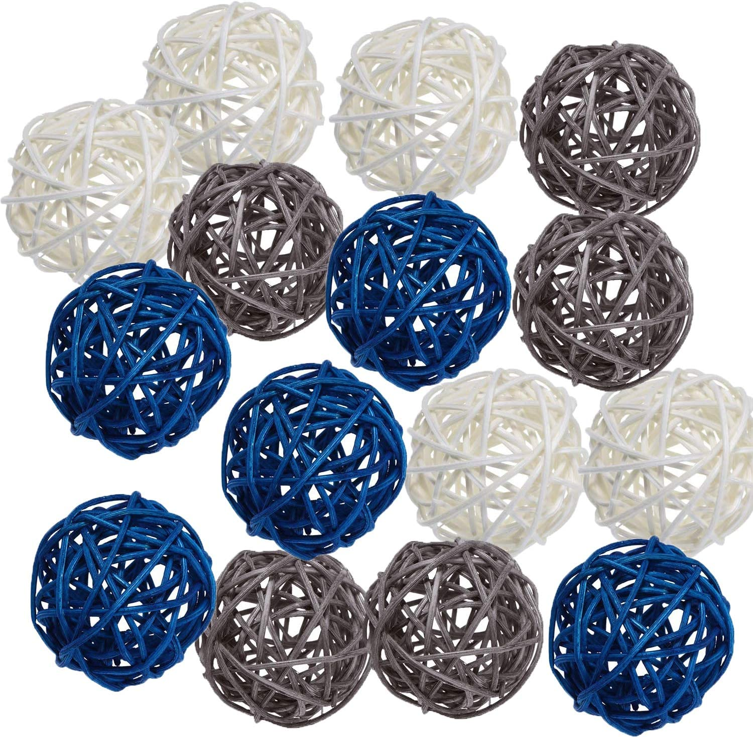 Pemalin 15pcs Big Wicker Rattan Balls -Mixed 3 Colors Decorative Balls for Bowls, Vase Filler, Coffee Table Decor, Wedding Party Centerpieces Confetti