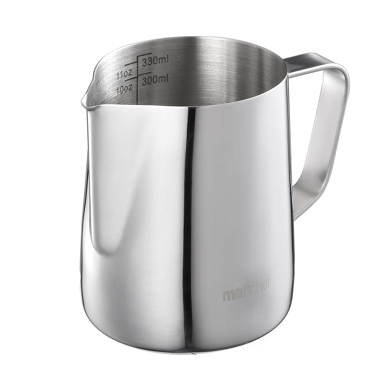 Mari Chef - 内部の印が付いている350mlステンレス鋼のミルクの投手の泡立て器の水差しの計量カップ   B073RGXM44