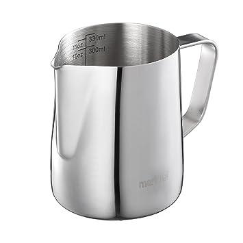 Mari Chef – 350 ml acero inoxidable jarra de leche para hacer espuma de leche, taza de medir con marcas de interior
