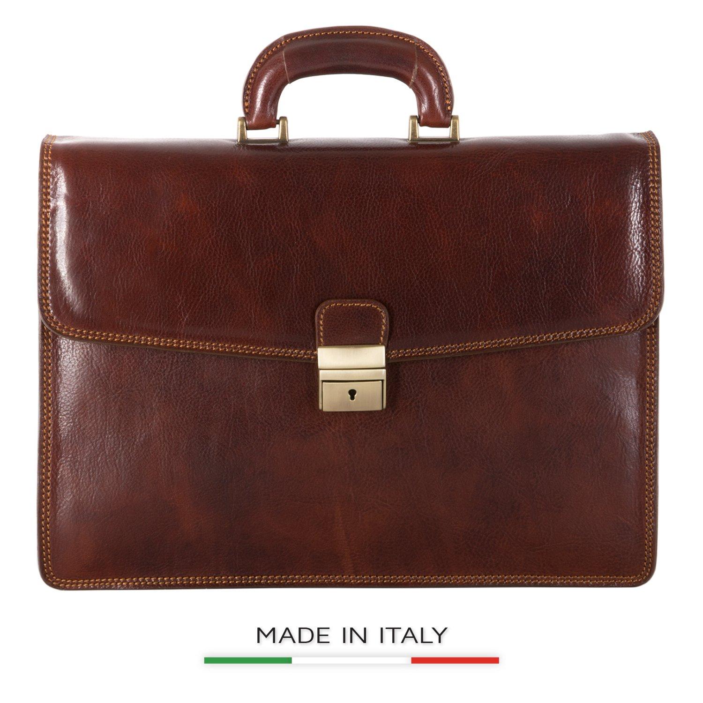 Luggage Depot USA, LLC Men's Alberto Bellucci Italian Leather Single Compartment Slim Briefcase, Brown, One Size