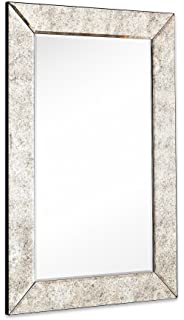 large antiqued framed wall mirror 35 inch antique frame rectangular mirrored glass panel premium beveled