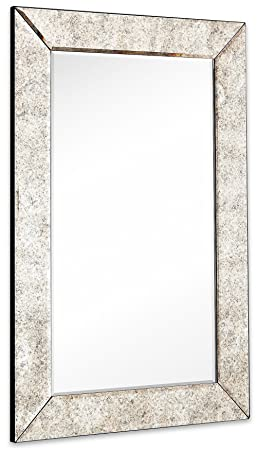 Large Antiqued Framed Wall Mirror 3.5 inch Antique Frame Rectangular Mirrored Glass Panel Premium Beveled Silver Backed Mirror Vanity, Bedroom, or Bathroom Hangs Horizontal Vertical 24 x 36