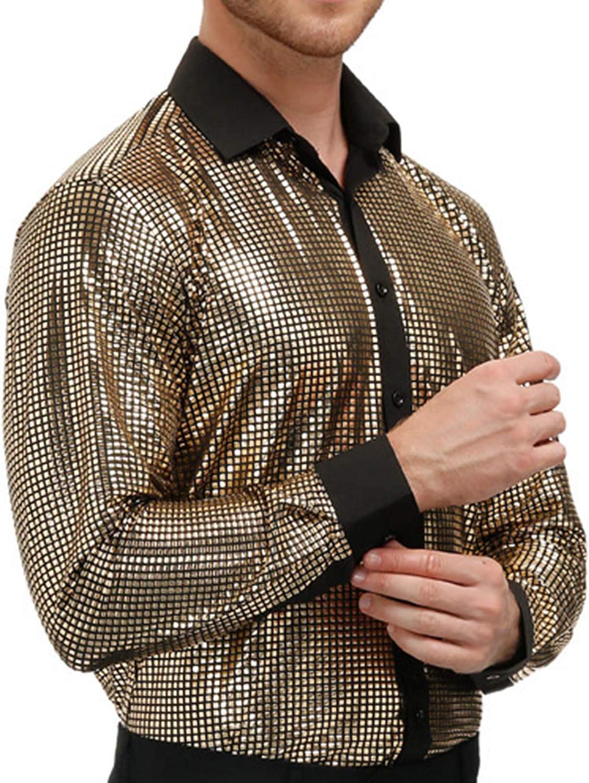 PJ PAUL JONES Mens Sequins Shirt Long Sleeve Button Shirts 70s Disco Party Costume