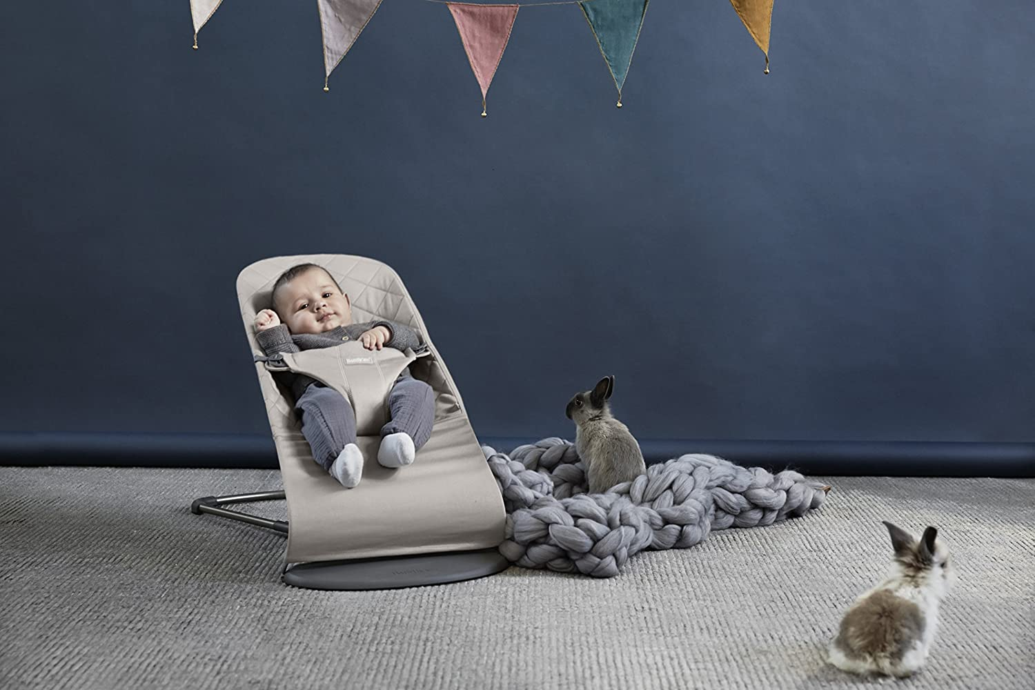 Cotton Sand Gray BabyBjorn Fabric Seat for Bouncer