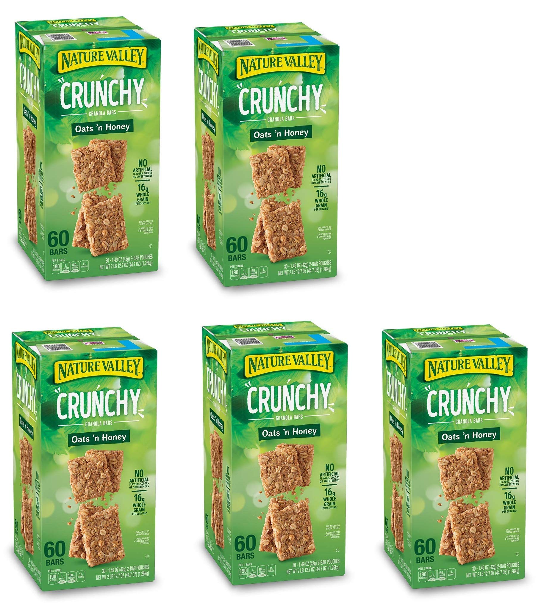 Natures Valley granola bars, Crunchy Oats N Honey, 60 Bars (5 Boxes)