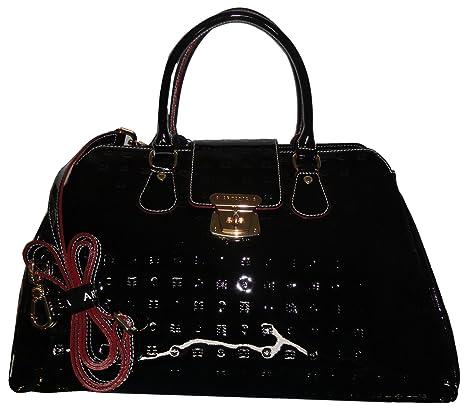 ccad2432854c Arcadia Women s Purse Handbag Patent Leather Satchel Black  Amazon.ca   Luggage   Bags