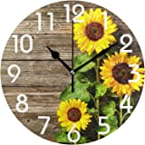 Naanle Stylish 3D Beautiful Sunflowers Vintage Wood Print Round Wall Clock, 10 Inch Battery Operated Quartz Analog Quiet Desk