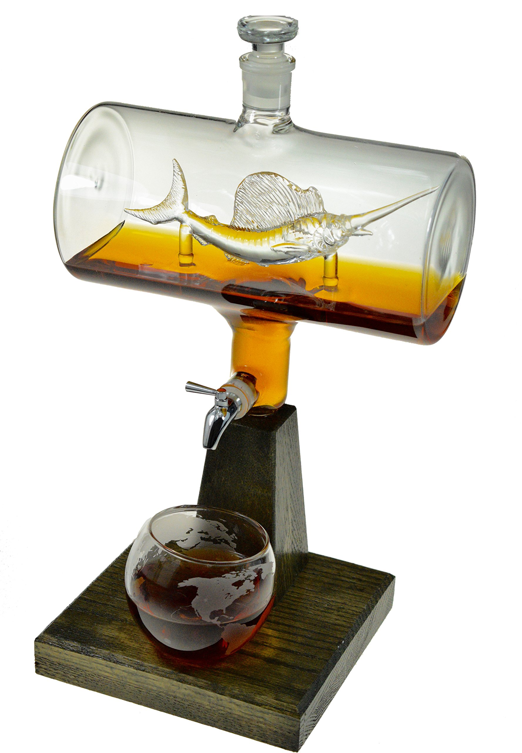 2500ml Whiskey Decanter with Sailfish Inside by Prestige Decanters