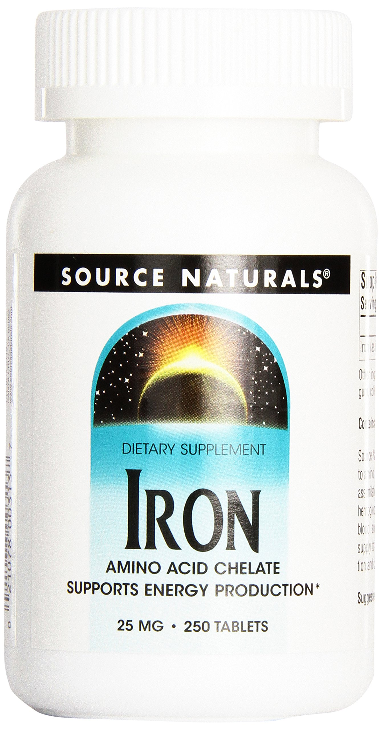 Source Naturals Iron Chelate, 25mg, 250 Tablets (Pack of 12)