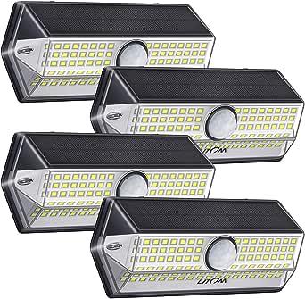 Luz Solar Exterior【Súper Brillante 4 Modos】con Sensor de Movimiento, LITOM Focos LED Exterior, IP67 Impermeable 100LEDs Luces Solares Luz Solar Jardín