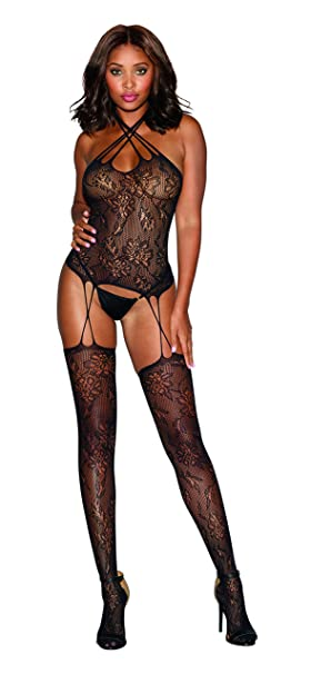 6a76e51961d Image Unavailable. Image not available for. Color  Strappy Lace Bustier Sexy  Bodystocking Lingerie