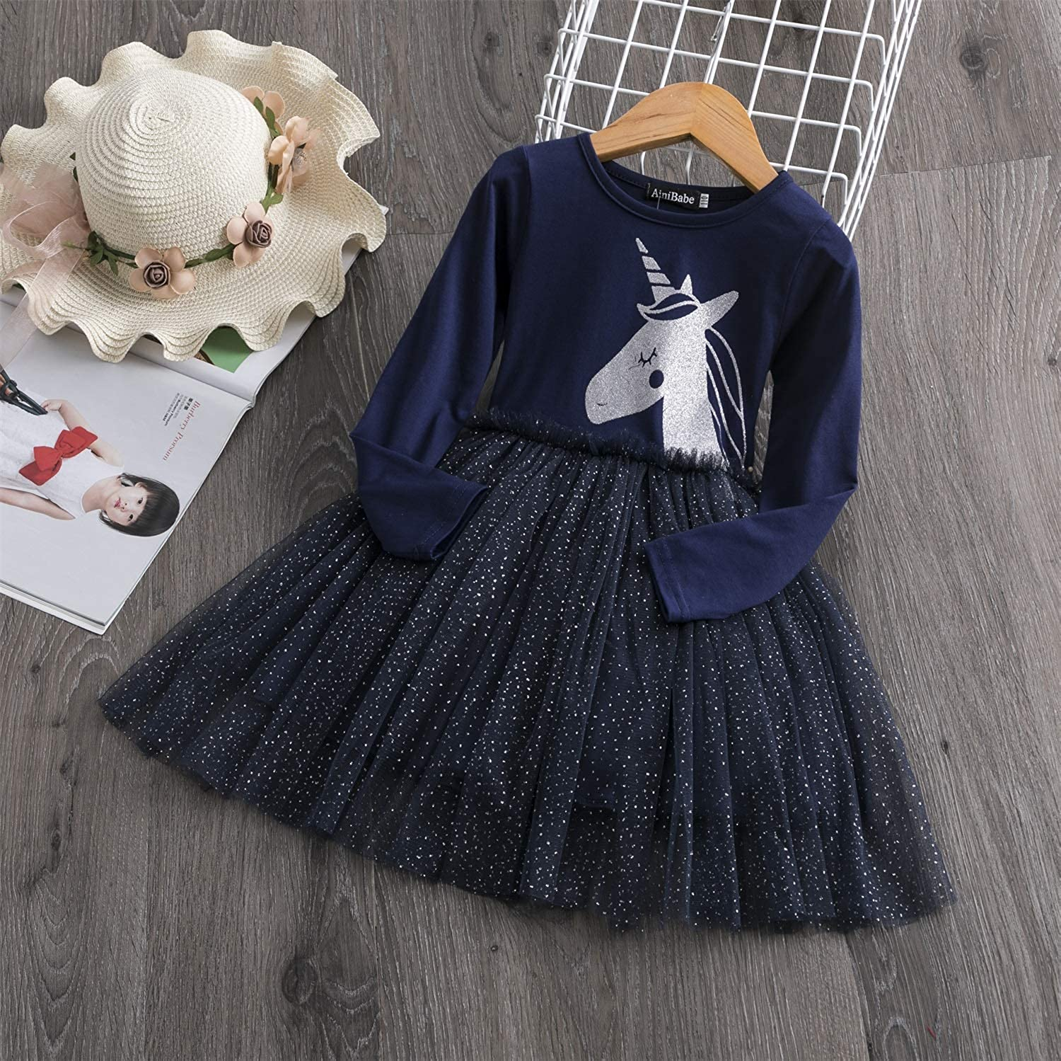 TTYAOVO Little Girls Long Sleeves Casual Birthday Dress with Tutu Skirt