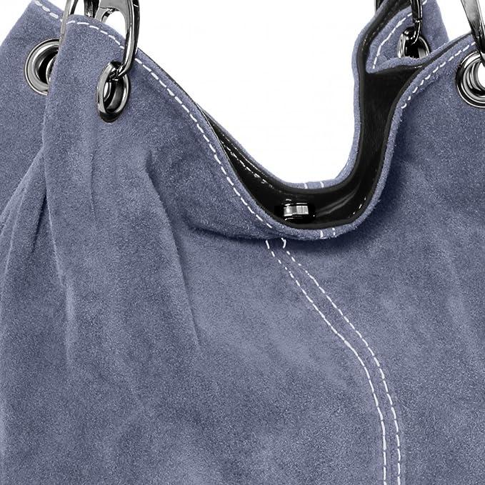 CASPAR TL621 klassische Damen Wildleder Handtasche, Farbe:jeans blau CASPAR Fashion
