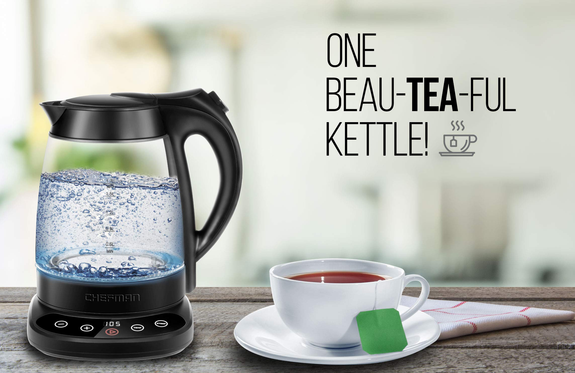 Chefman Programmable Electric Kettle Digital Display Removable Tea Infuser Included, Cool Touch Handle, 360° Swivel Base, BPA Free, 1.7 Liter/1.8 Quart by Chefman (Image #5)