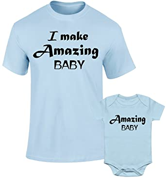 38d2bbcb SuperPraise Father Daddy Daughter Dad Son Family Matching T Shirts I Make  Amazing Baby: Amazon.co.uk: Clothing