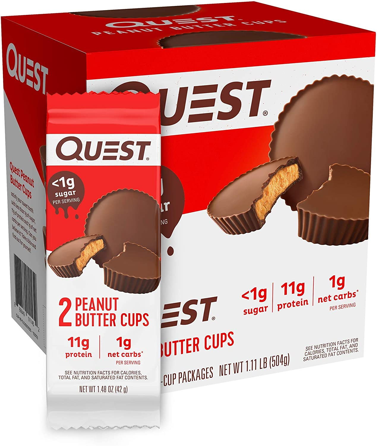 Quest Nutrition Peanut Butter Cups, High Protein, Low Carb, Gluten Free, Keto Friendly, 12Count
