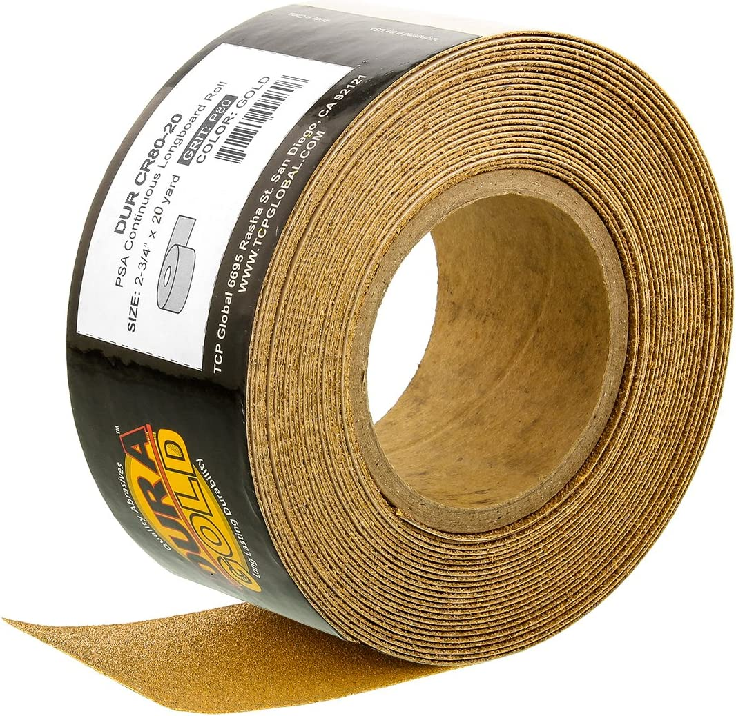 """Dura-Gold - Premium - 80 Grit Gold - Longboard Continuous Roll 20 Yards long by 2-3/4"""" wide PSA Self Adhesive Stickyback Longboard Sandpaper for Automotive and Woodworking: Automotive"""