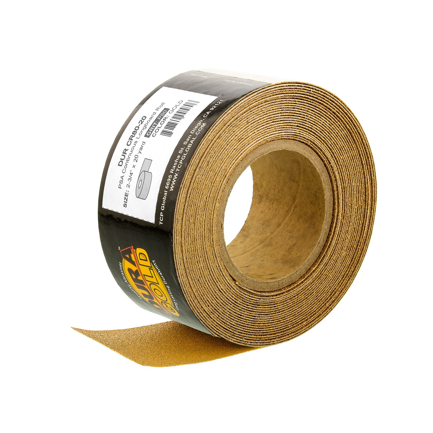 "Dura-Gold - Premium - 80 Grit Gold - Longboard Continuous Roll 20 Yards long by 2-3/4"" wide PSA Self Adhesive Stickyback Longboard Sandpaper for Automotive and Woodworking"