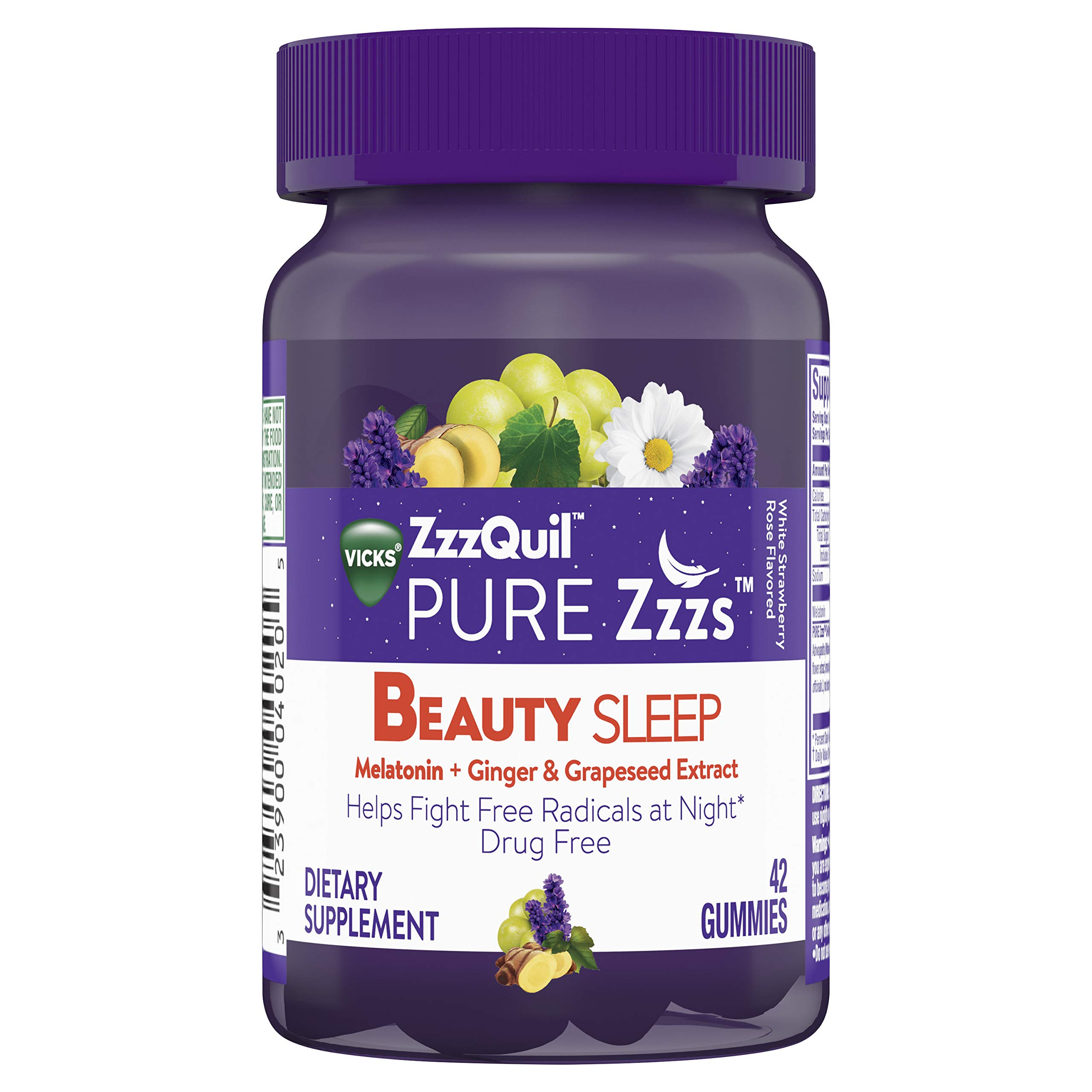Vicks ZzzQuil Pure Zzzs Beauty Sleep Melatonin Gummies Sleep Aid with Ginger, Grape Seed Extract