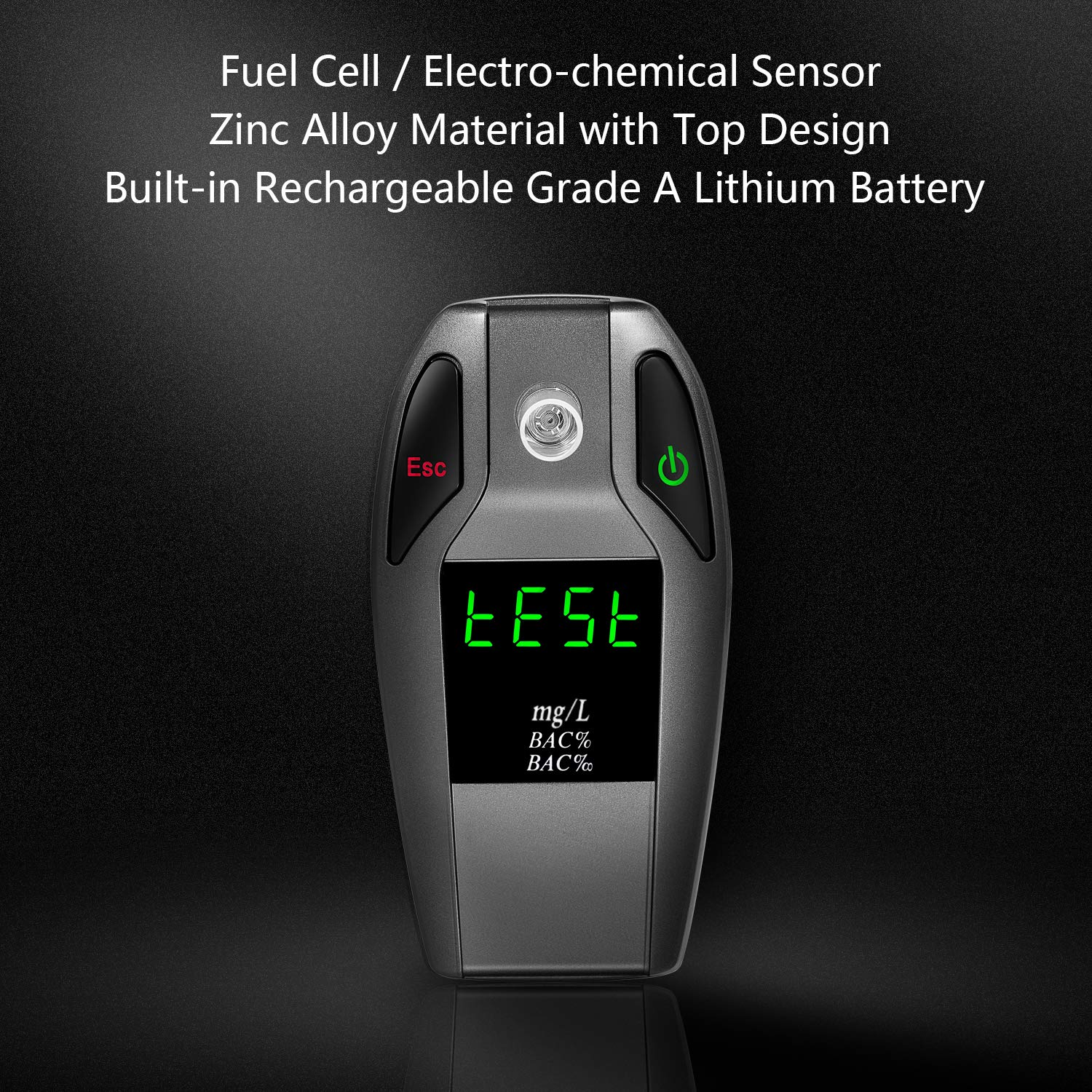 JASTEK Breathalyzer, [2019 New Version] Fuel Cell Sensor Digital Breath Alcohol Tester and Professional Grade Blood Alcohol Content Detector Made of Zinc Alloy by JASTEK (Image #8)