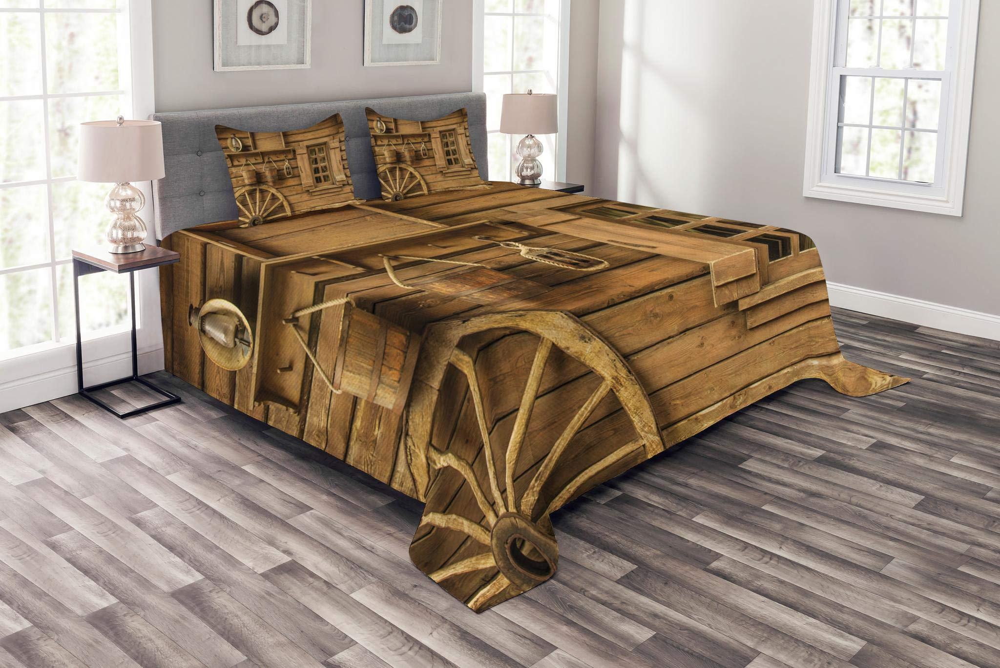 Lunarable Western Bedspread Set King Size, Ancient Old Wagon Wheel Next to Rustic Wooden House Vintage Lantern Window Buckets Print, Decorative Quilted 3 Piece Coverlet Set with 2 Pillow Shams, Brown