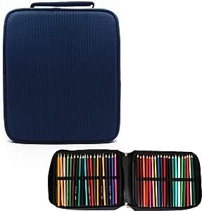 200 Estuche de lápices de colores con ranuras Bolso organizador de gran capacidad con cierre de cremallera (Azul Oscuro, 200-ranuras): Amazon.es: Hogar