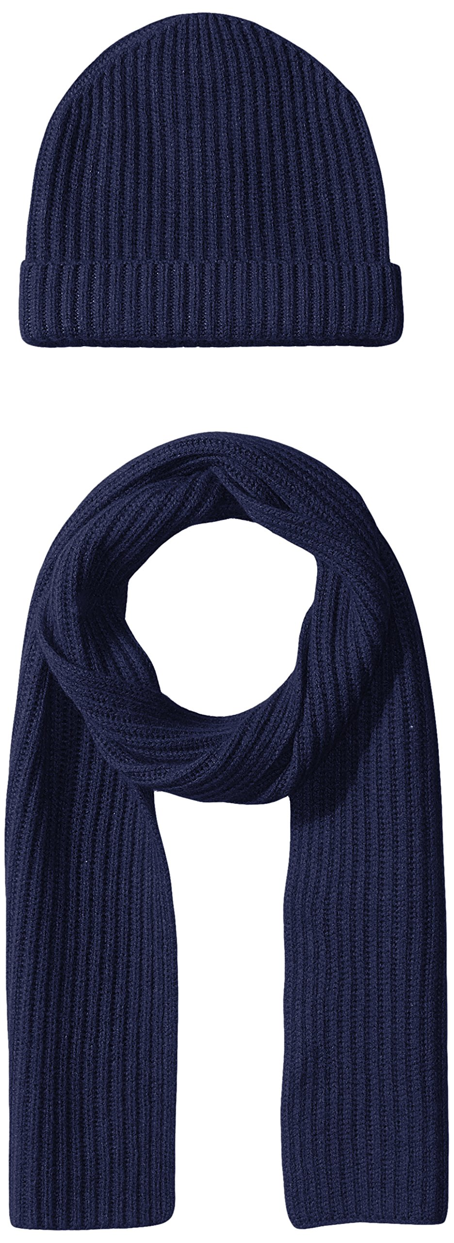 Williams Cashmere Men's 2pc Chunky Hat and Solid Rib Scarf, Midnight Navy, One Size
