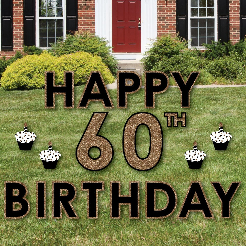 Big Dot of Happiness Adult 60th Birthday - Gold - Yard Sign Outdoor Lawn Decorations - Happy Birthday Yard Signs