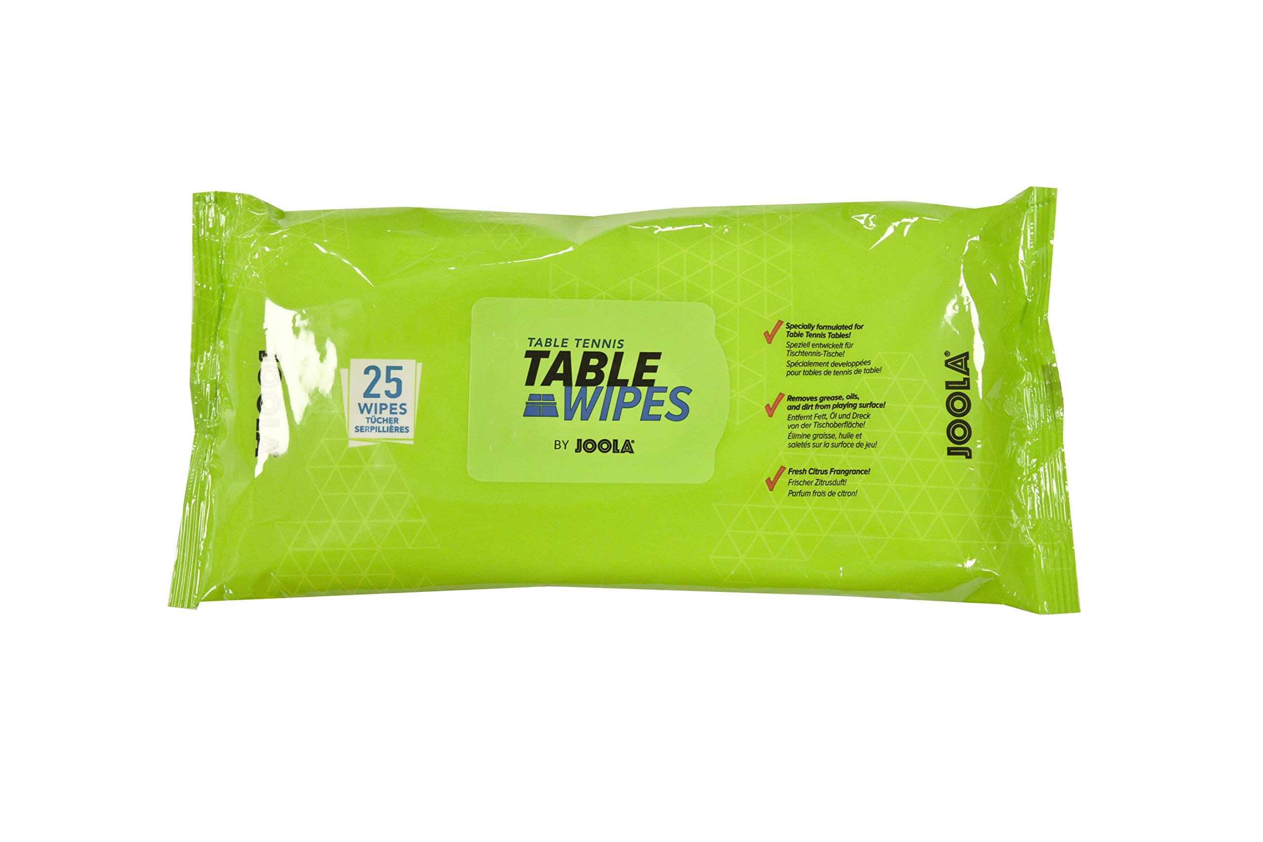 JOOLA Table Tennis Table Surface-Safe Cleaning Wipes (25 Count) - Alcohol & Bleach Free, Citrus Scent
