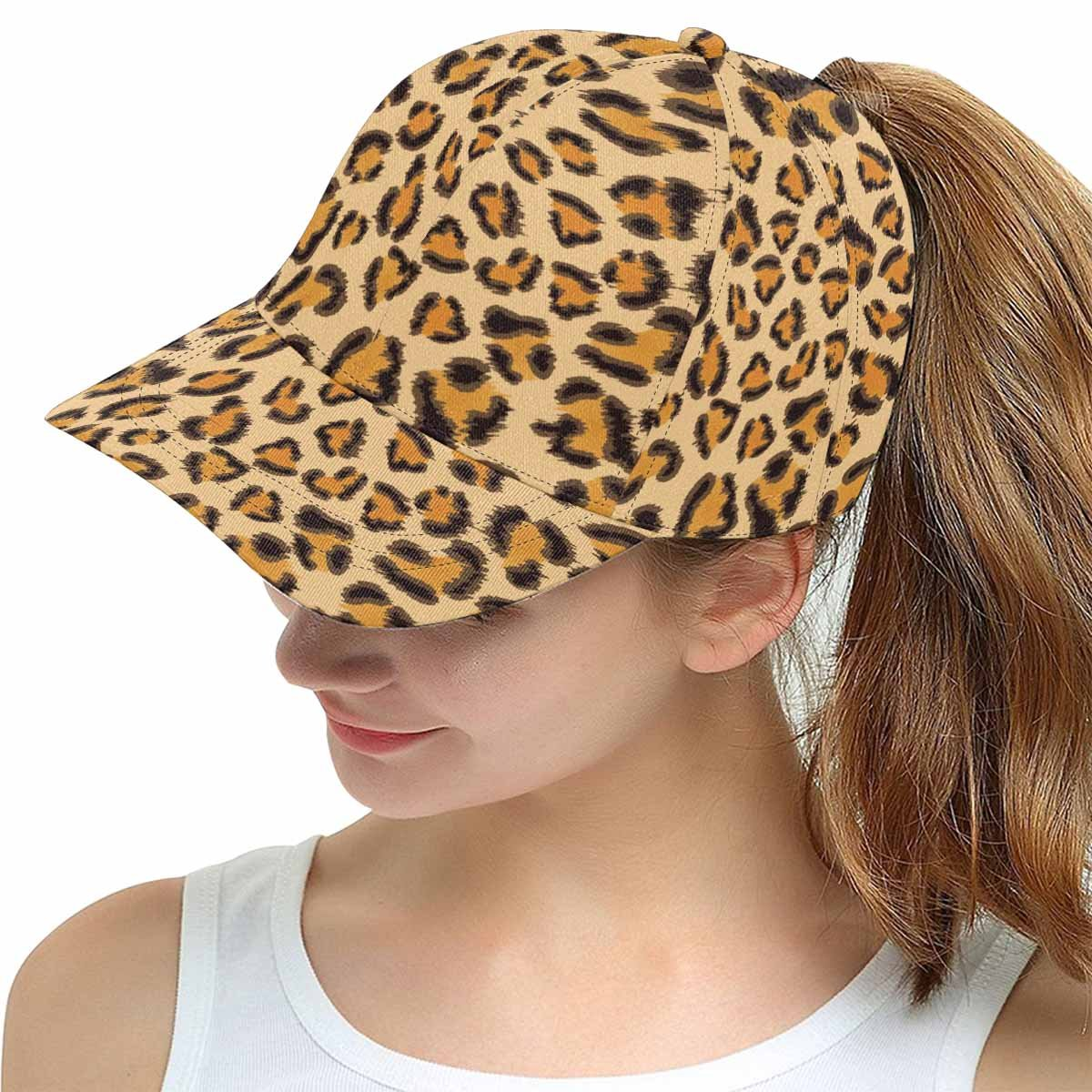 InterestPrint Adjustable Snapback Hat Leopard Background