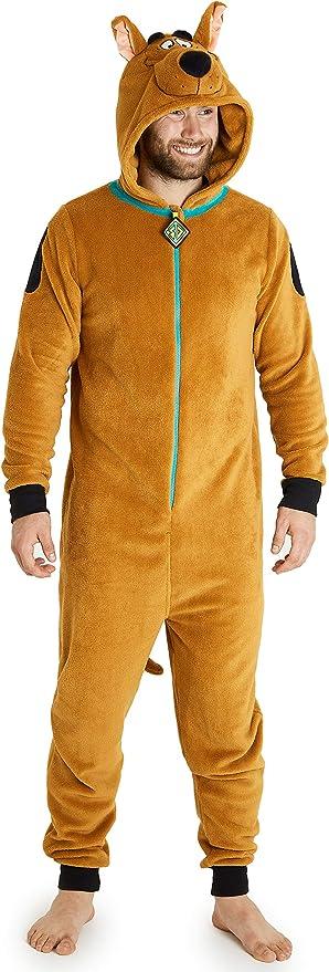 Scooby Doo Pijama Hombre de Una Pieza, Pijama Hombre Invierno Entero de Forro Polar con Capucha 3D, Regalos para Hombres y Adolescentes Talla S - 2XL