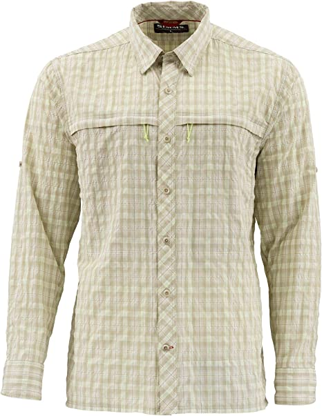 Simms Stone Cold Shirt - Camiseta de Manga Larga de Secado rápido UPF 30 - Te Ayuda a mantenerte Fresco - Tecnología antiolor - Camisa de Pesca para Hombre, XL, Tartán Caqui:
