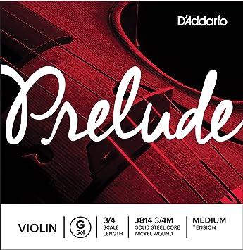 Cuerda individual Sol para violín Prelude de DAddario, escala 3/4 ...