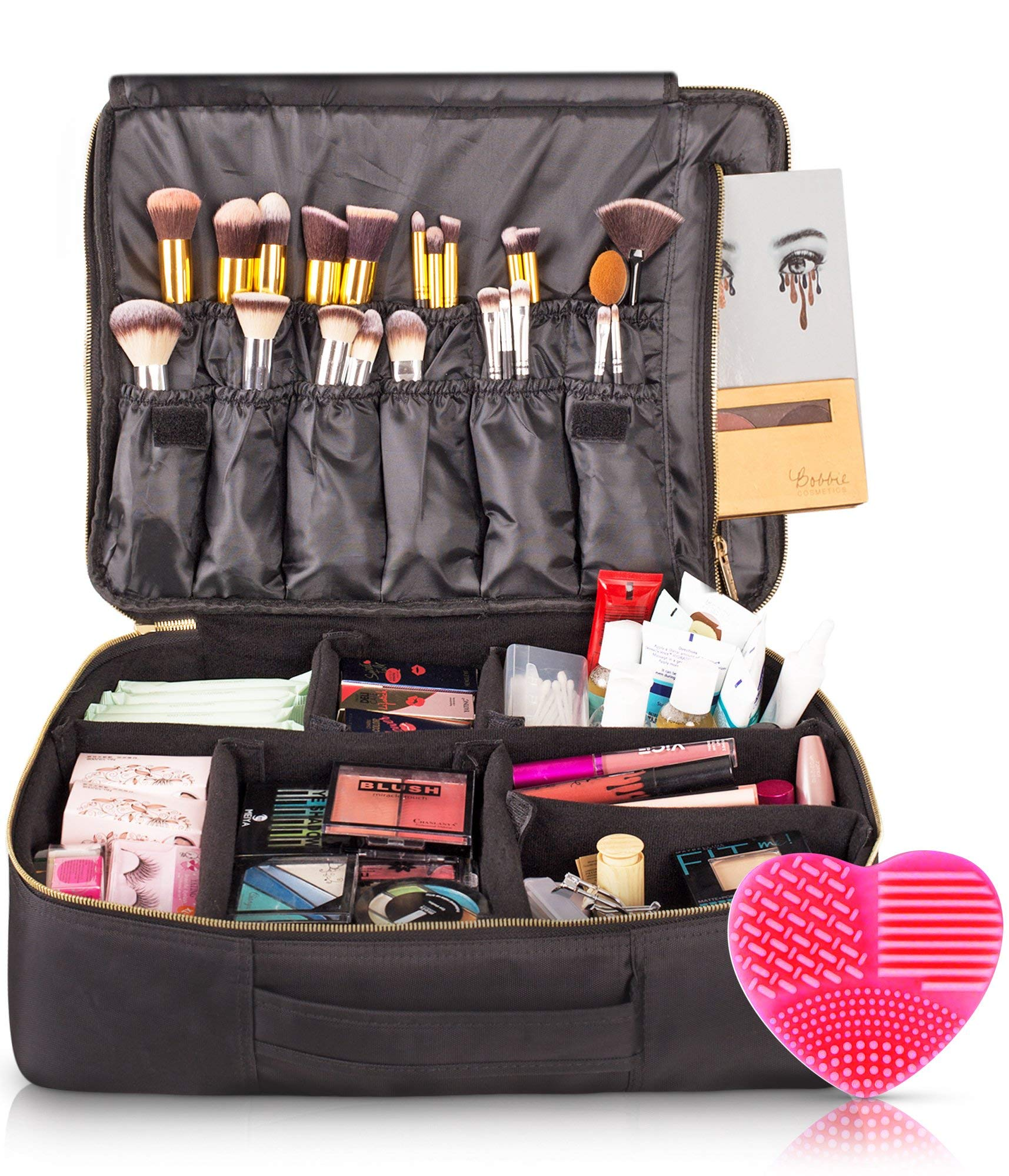 habe Travel Makeup Bag with Mirror Premium Vegan Designer Make Up Bag Organizer Train Case for Women – More Storage than 3 Cosmetic Bags, Make Up Bags or Make Up Cases (BONUS Brush Cleaner) Pink