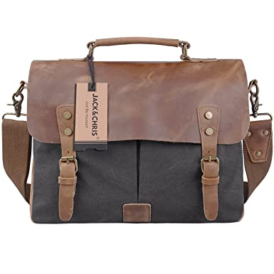 Amazon.com: TOP-BAG Men/Women's Vintage Canvas Leather Schoolbag ...