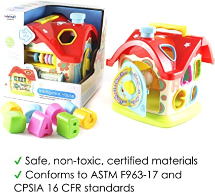 Great Gift Toy for Toddlers Kids Boys /& Girls Touch-n-Learn Fun Educational Learning Engineering STEM Play Activity Center Safe /& Durable Haktoys Toy Smart House Cube Building Block Kit Cottage