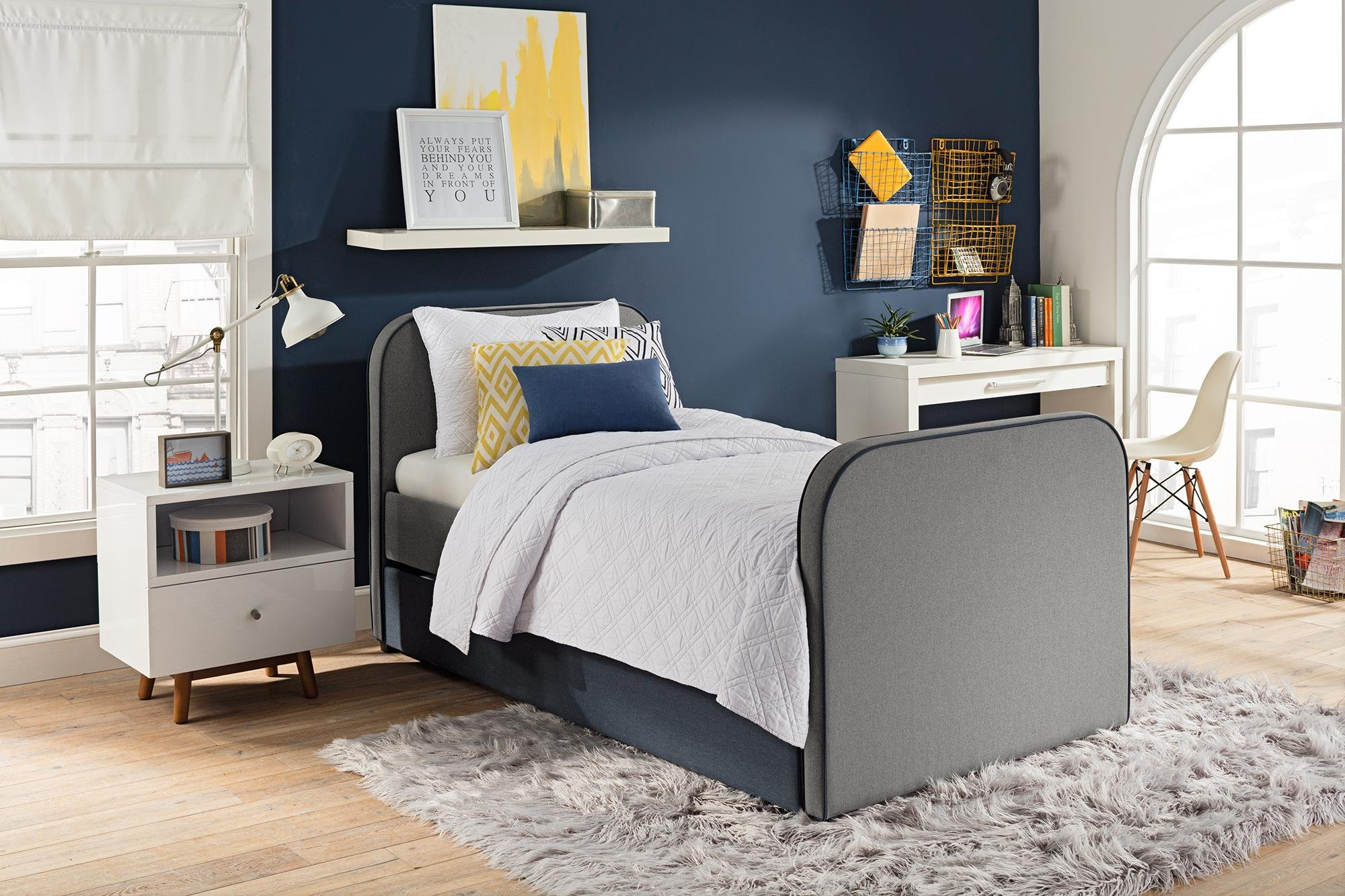 DHP Jesse Twin Kids Bed with Trundle in Gray Linen by DHP (Image #2)