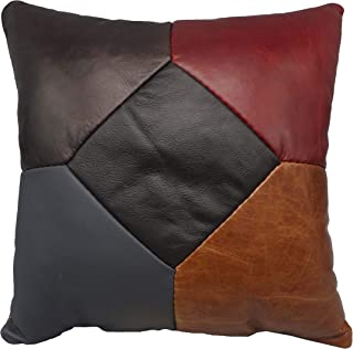 "product image for Saving Shepherd Amish Color Leather 5 Patch Quilt Pillow - 15"" Exquisite Look & Feel and Handmade in USA"