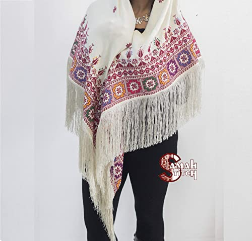 Handmade Palestinian embroidery shawl