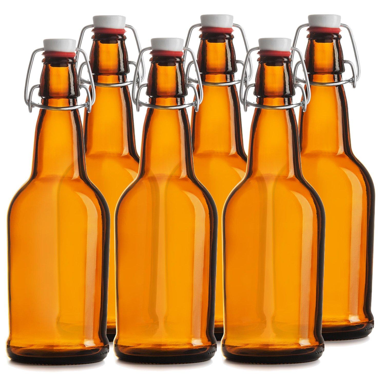 Chef's Star Easy Cap Beer Bottles, 16 oz, Pack of 6, Amber Chefs Star