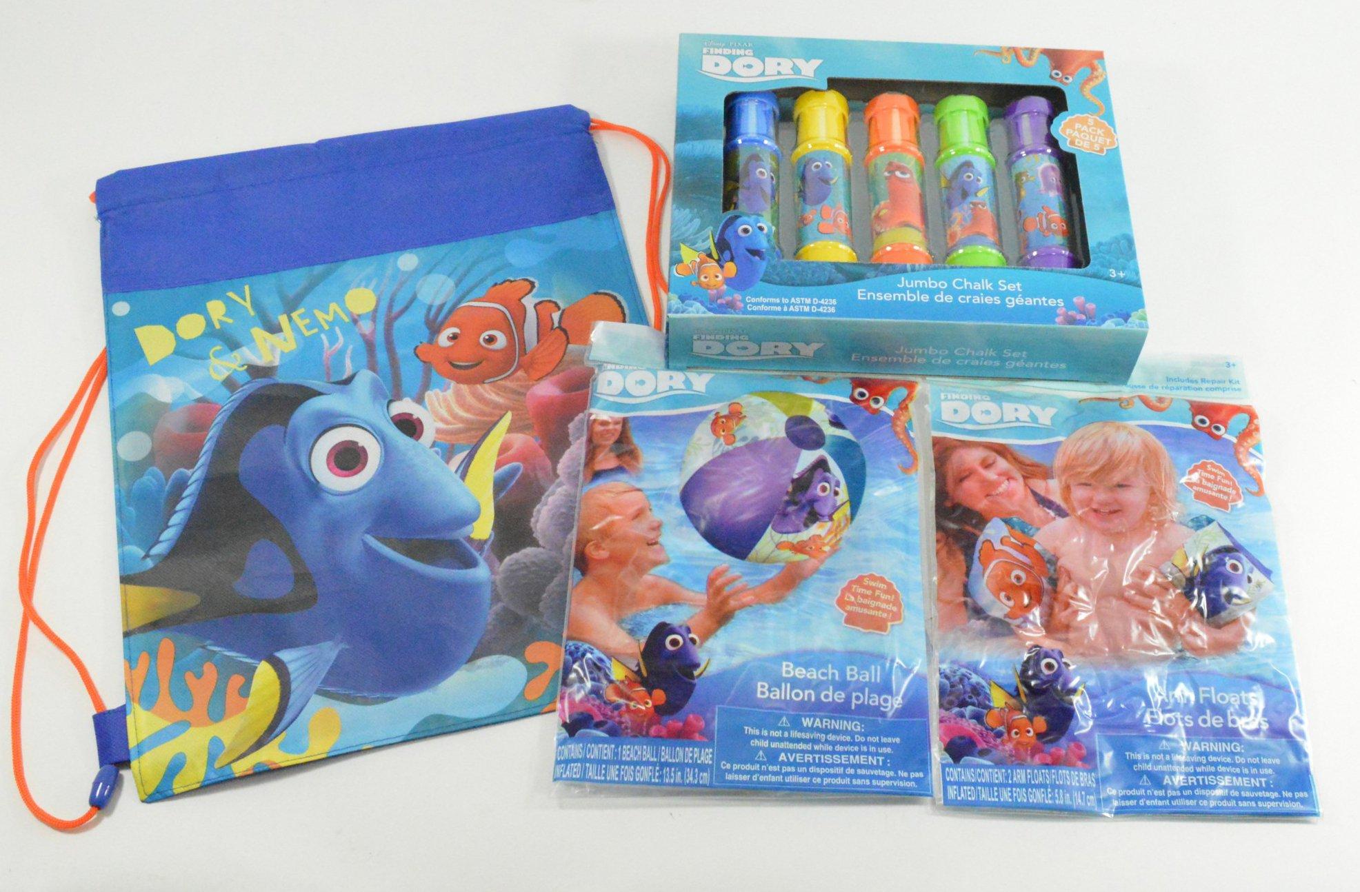 Disney Pixar Finding Dory Bag and Outdoor Fun Pool Package Deal (Chalk, Beach Ball, Bag, Floaties)