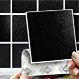 """18 BLACK EFFECT WALL TILES - 2mm Thick and solid Self Adhesive Stick on Wall Tile Stickers Transfers - 18 tiles per box 4""""x 4"""" (10cm x 10cm) - NO CEMENTING ! NO GROUTING ! Each box of 2mm Thick Solid Tile Stickers will totally cover over the area underneath of 2 square feet. TILE OVER ANY SIZE OF TILE OR ONTO THE WALL, thick Self Adhesive Wall Tiles that are Water and Steam Resistant for both Kitchens and Bathrooms."""