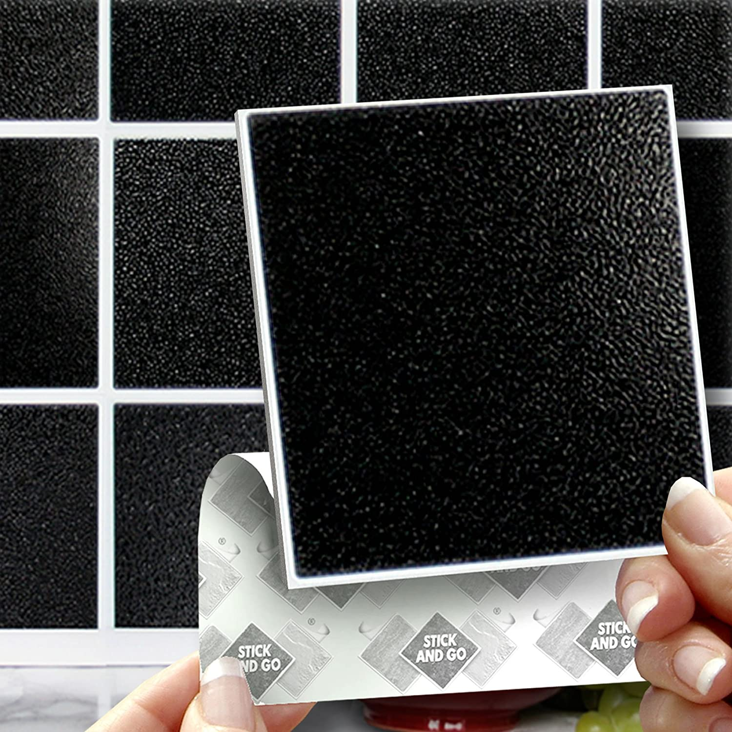 How to cover wall tiles - Black Effect Wall Tiles Box Of 8 Tiles Stick And Go Wall Tiles 6 X 6 15cm X 15cm Each Box Of Tiles Will Cover An Area Of 2 Sqr Ft