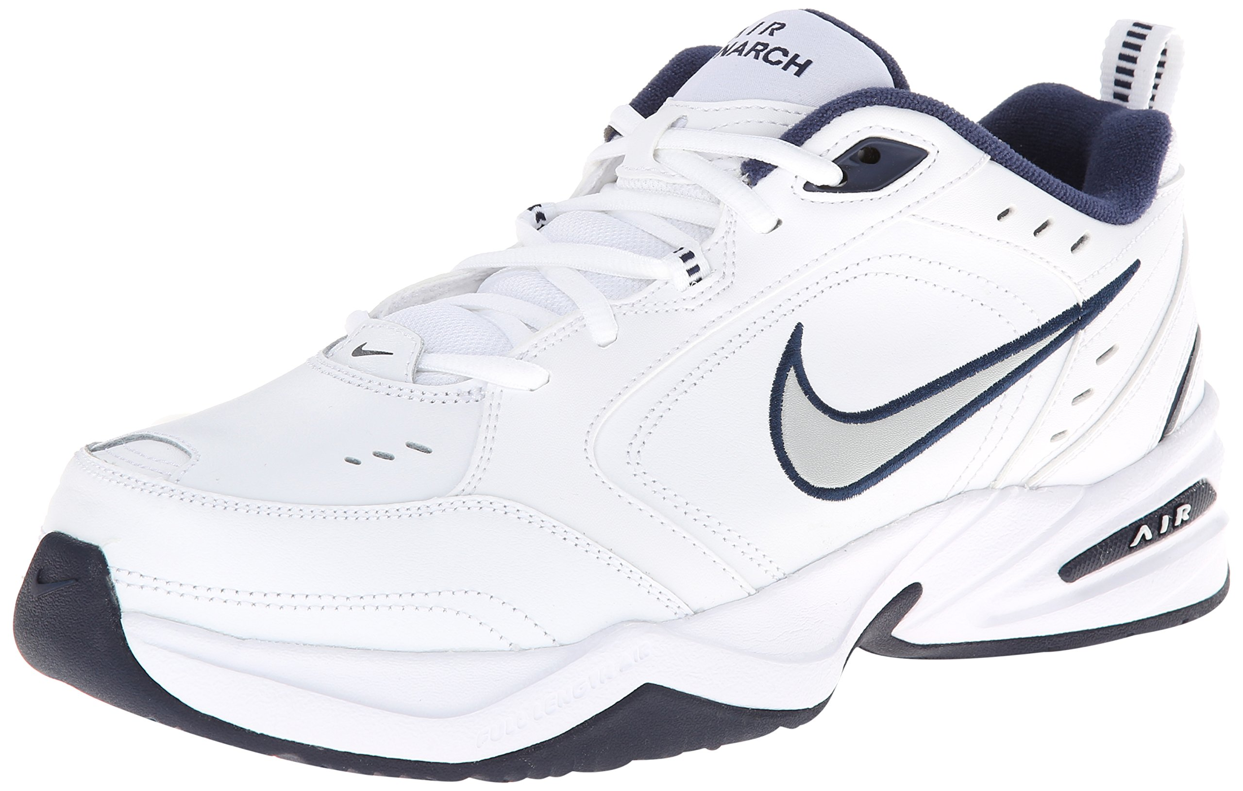 NIKE Men's Air Monarch IV Athletic Shoe, white/metallic silver, 10.5 Regular US
