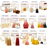 AROIC 72-93 Pairs Colorful Earrings with Tassel Earrings Layered Ball Dangle Hoop Stud Jacket Earrings for Women Girls…