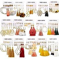 AROIC 93 Pairs Colorful Earrings with Tassel Earrings Layered Ball Dangle Hoop Stud Jacket Earrings for Women Girls…