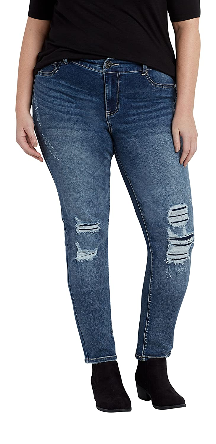 Maurices Women's Denimflex Plus Size Jegging In Medium Wash With Lined Destruction