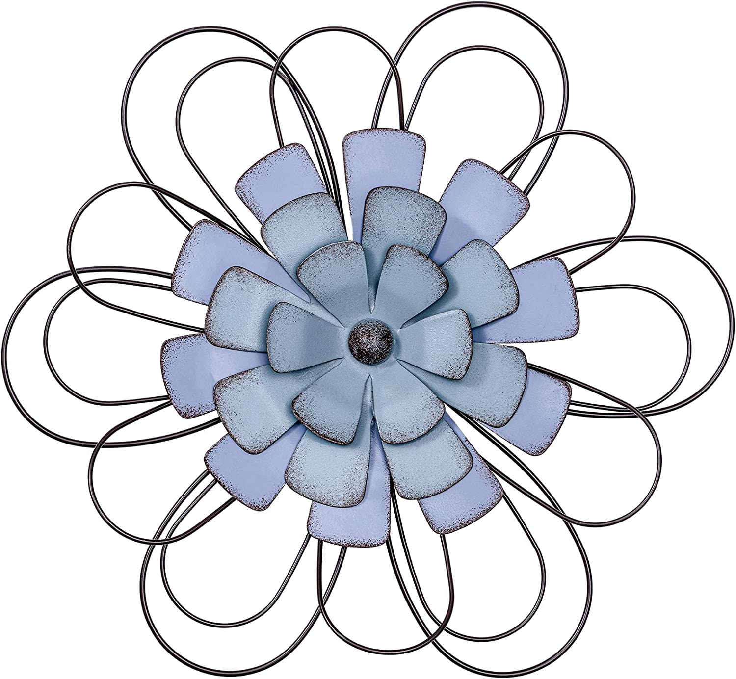 "hogardeck Metal Flower Wall Decor - 13"" Metal Floral Home Decoration for Bedroom, Living Room, Bathroom, Kitchen, Wall Sculptures Outdoor Wall Art"