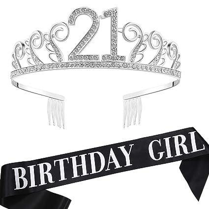 Amazon.com: Babeyond - Tiara de 21 cumpleaños y faja de ...